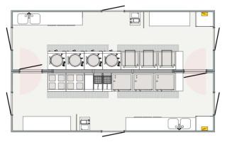 Warme Küche (Set aus 2 x 10 m-Units)