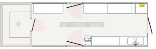 Kalte Küche mit Kühl- oder Tiefkühlzelle 10 m